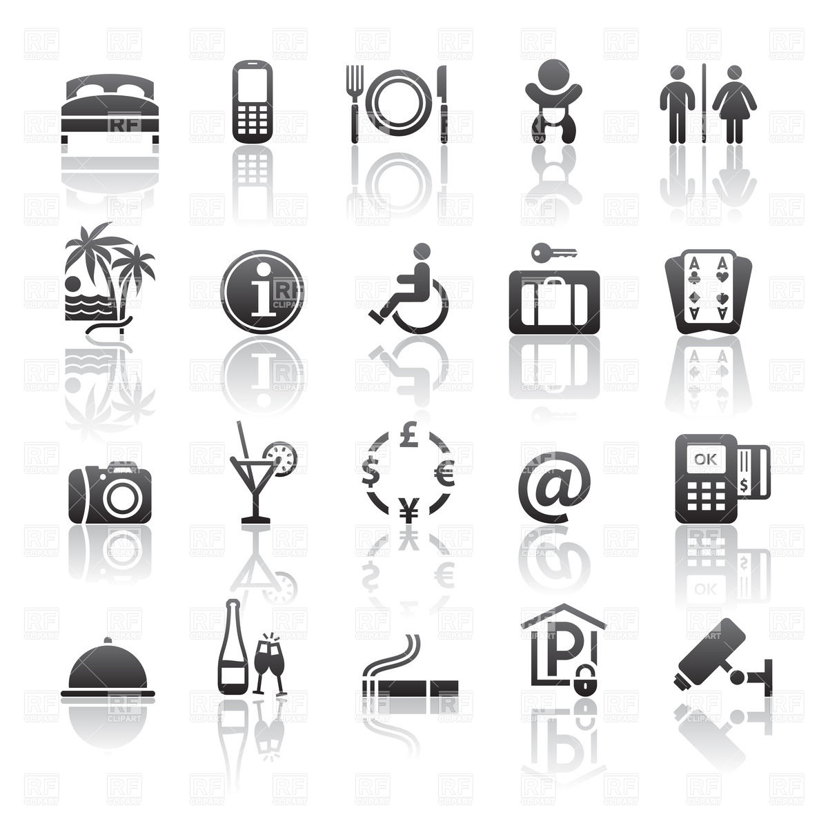 1200x1200 Hotel And Motel Services Icons Vector Image Vector Artwork Of