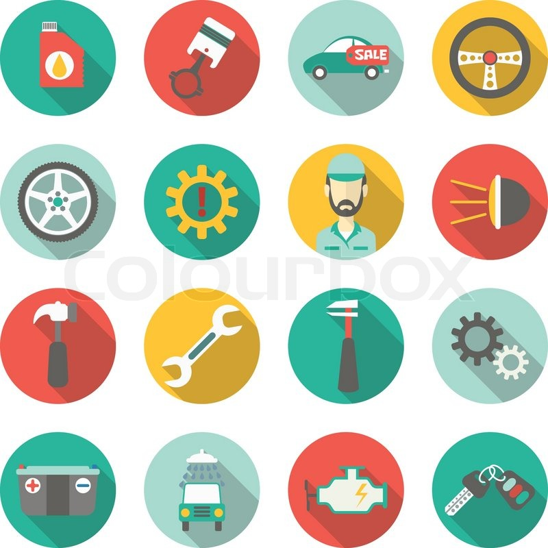 800x800 Car Service Flat Icons. Vector Illustration Stock Vector Colourbox
