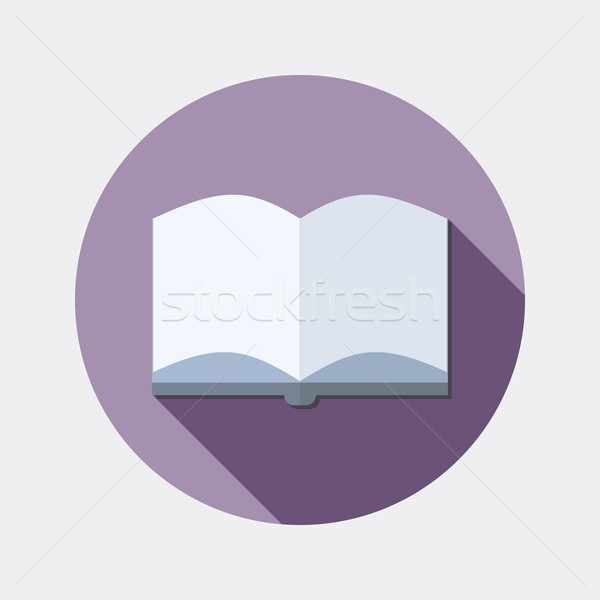 600x600 Flat Design Education Reading Open Book Icon With Long Shadow
