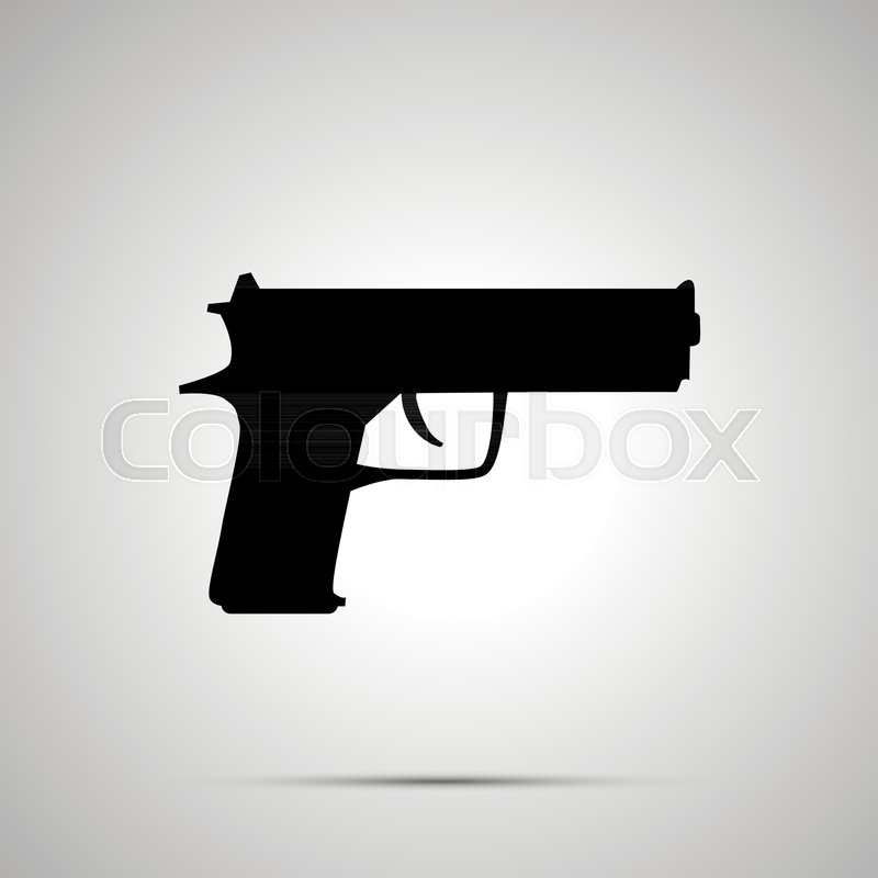 800x800 Gun Silhouette, Simple Black Icon With Shadow Stock Vector