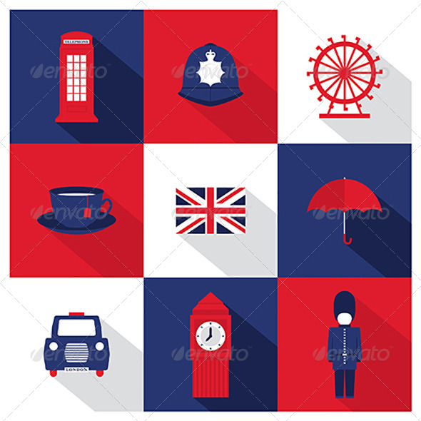590x590 Vector London City Flat Icons With Long Shadow By Ashkenazigal