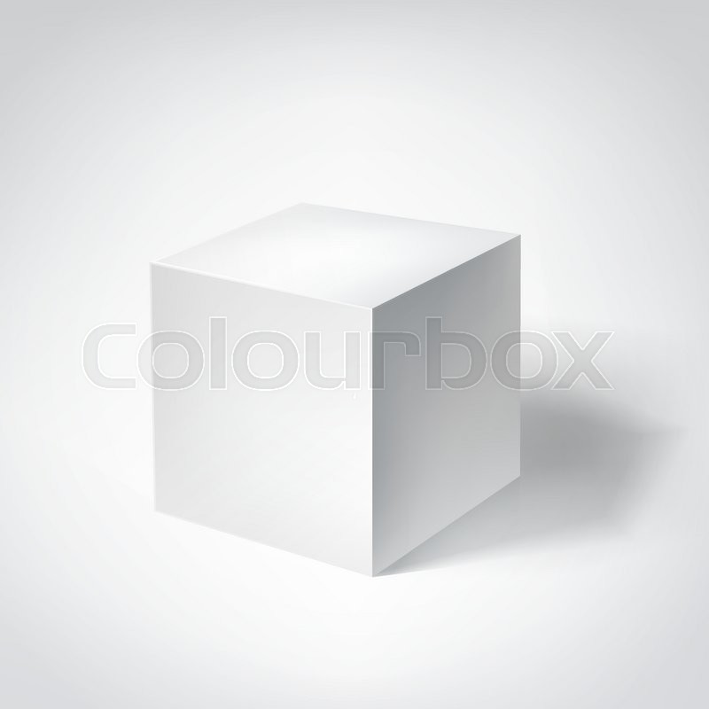 800x800 White 3d Cube Geometric Figure With Shadow. Vector Illustration