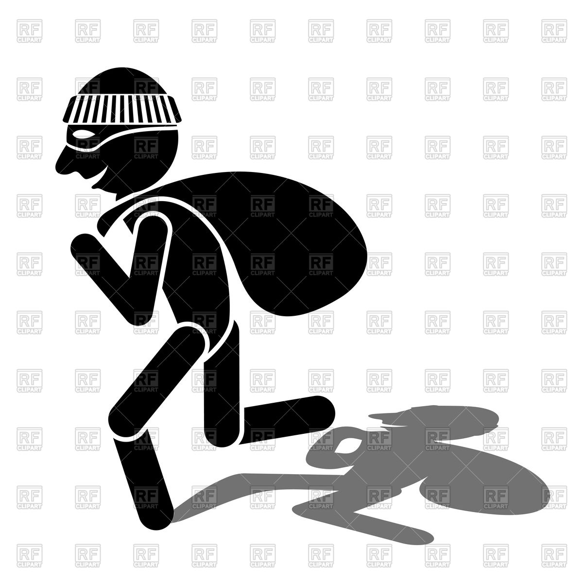 1200x1200 Cartoon Thief Silhouette And Shadow Vector Image Vector Artwork
