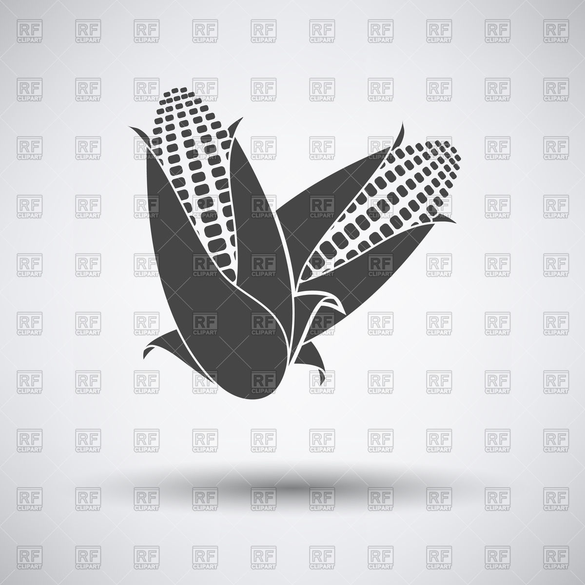 1200x1200 Corn Icon On Gray Background With Round Shadow Vector Image