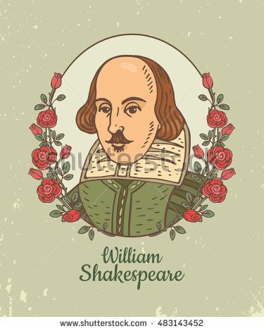 375x470 Portrait Of William Shakespeare. Vector Color Hand Drawn Doodle