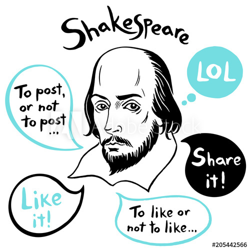 500x500 Shakespeare Portrait With Speech Bubbles And Social Media Funny
