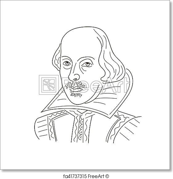 561x581 Free Art Print Of William Shakespeare. Sketch Illustration. Black