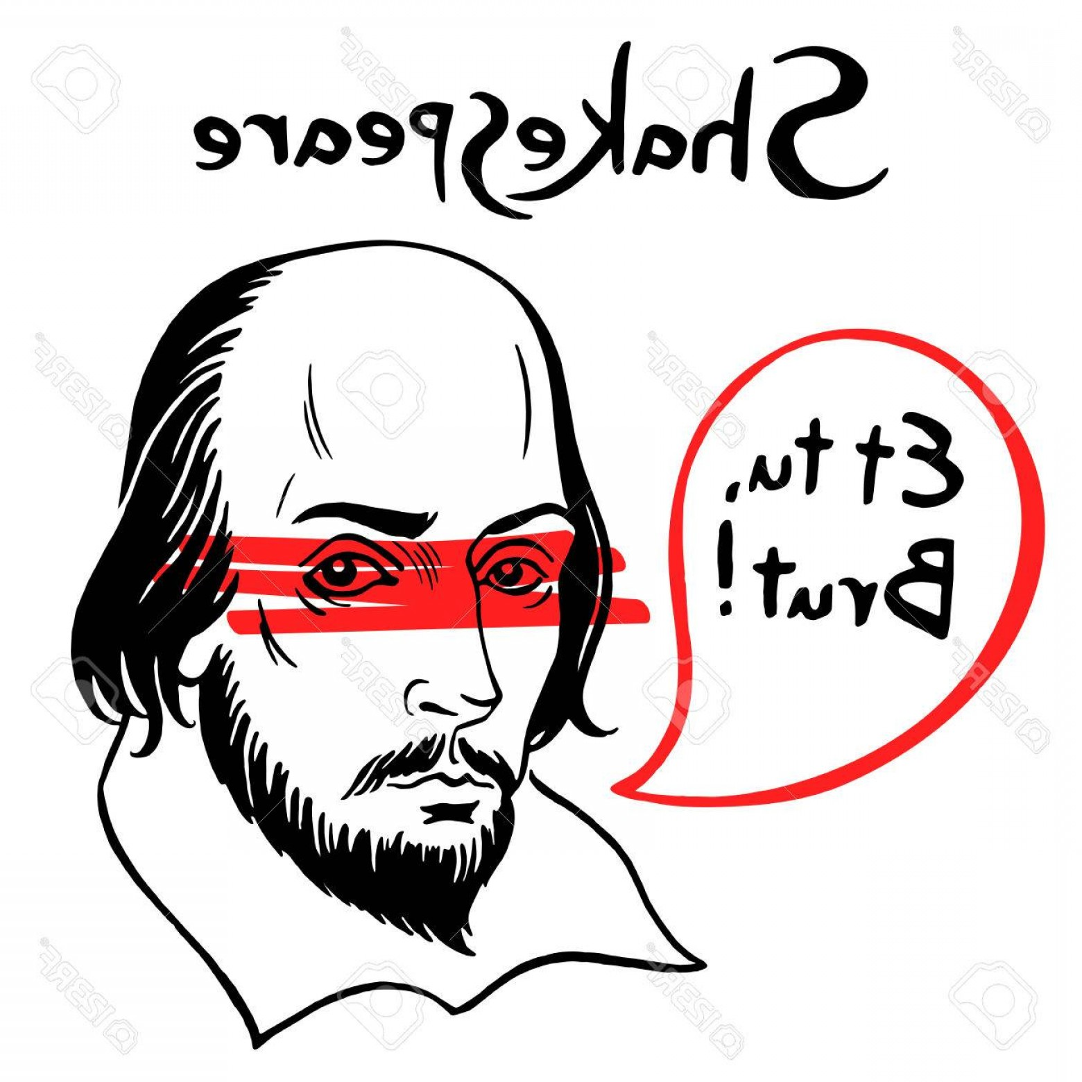 1560x1560 Photostock Vector Shakespeare Vector Portrait With Speech Bubble