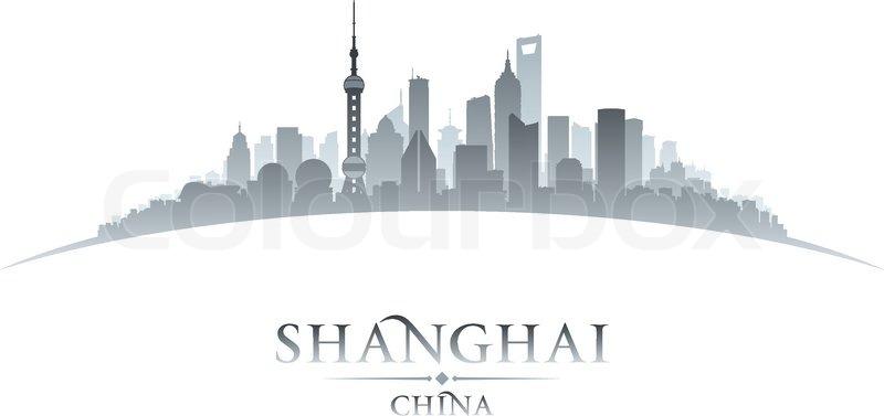800x377 Shanghai China City Skyline Silhouette. Vector Illustration