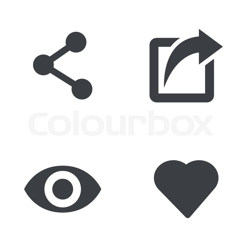 800x800 Vector Like Share View Icon Set. Like Share View Icon Object, Like