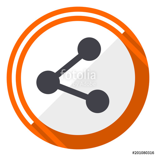 500x500 Share Flat Design Orange Round Vector Icon In Eps 10 Stock Image