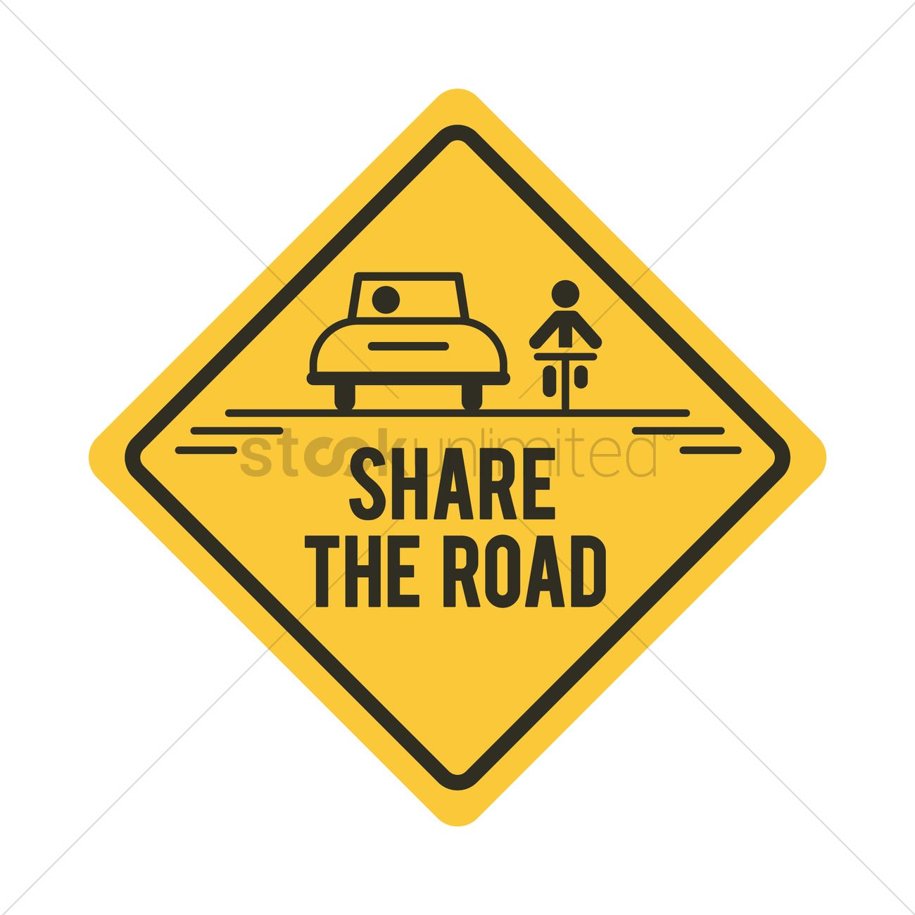 1300x1300 Share The Road With Bicycle And Car Road Sign Vector Image