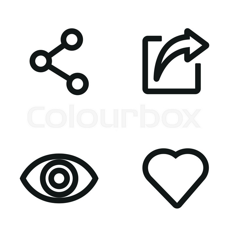 800x800 Vector Line Like Share View Icon Set. Like Share View Icon Object