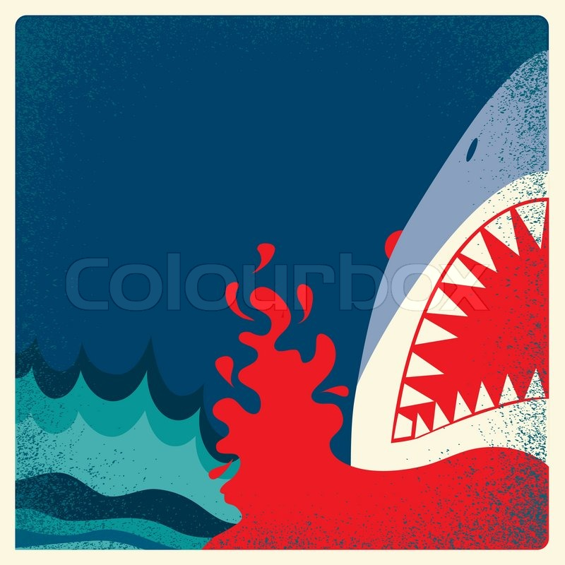 800x800 Shark Jaws Poster.vector Danger Background Illustration For Text