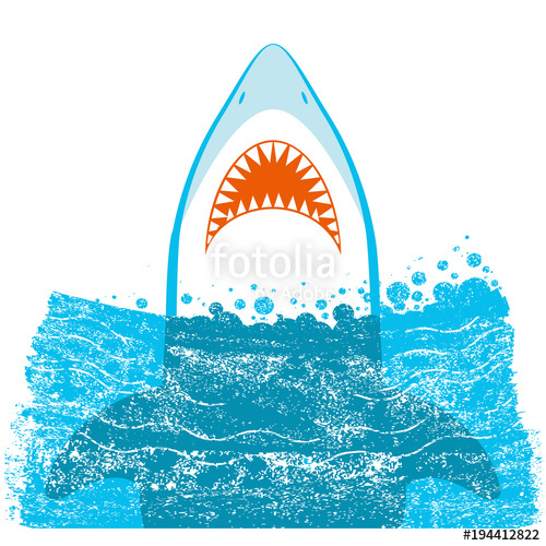 500x500 Shark Jaws.vector Blue Background Illustration Stock Image And