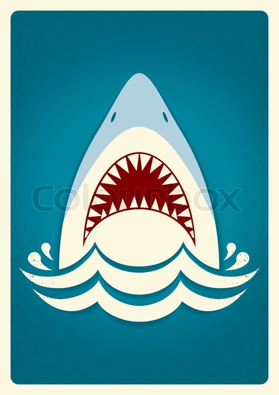 566x800 Shark Jaws.vector Blue Background Illustration For Text Stock