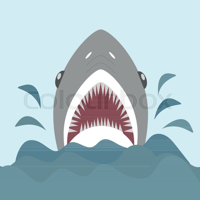 800x800 Shark With Open Jaws And Sharp Teeth. Vector Illustration In Flat