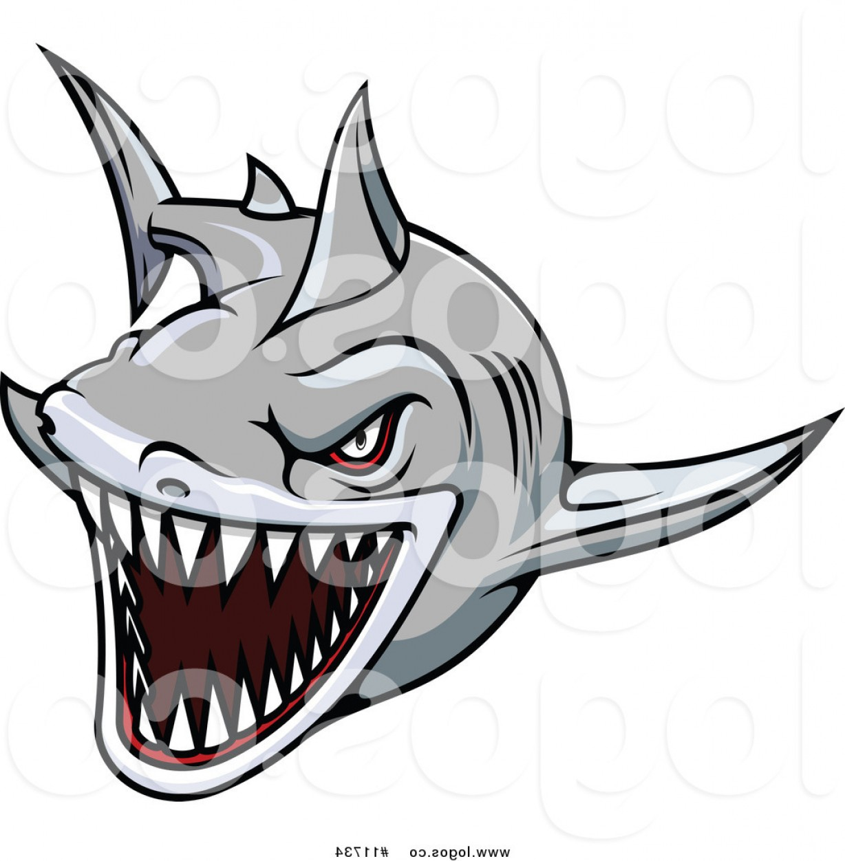 1228x1252 Royalty Free Vector Of A Vicious Swimming Shark Logo By Vector