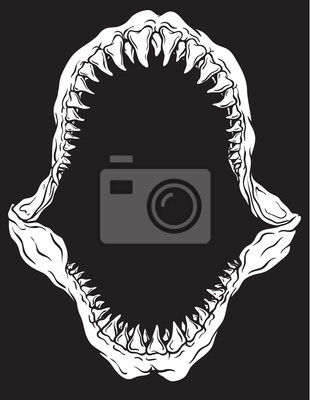 310x400 Shark Jaw Isolated Vector Illustration Sticker Razor Wall Decals
