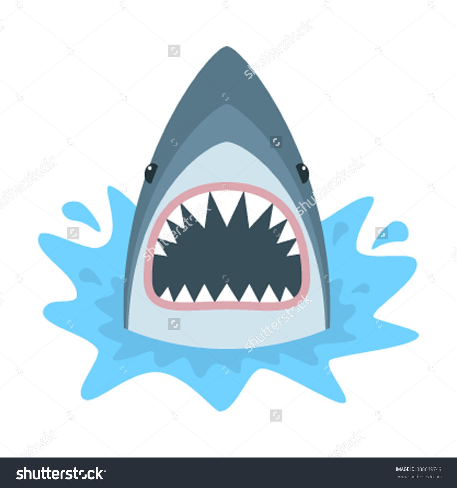 1500x1600 Shark With Open Mouth. Shark Isolation On A White Background. Flat
