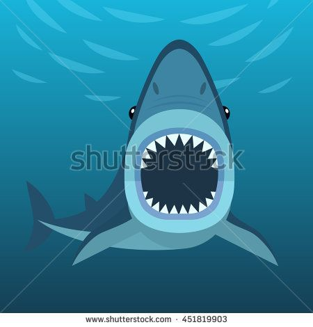 450x470 Vector Illustration Of Shark With Open Mouth Full Of Sharp Teeth
