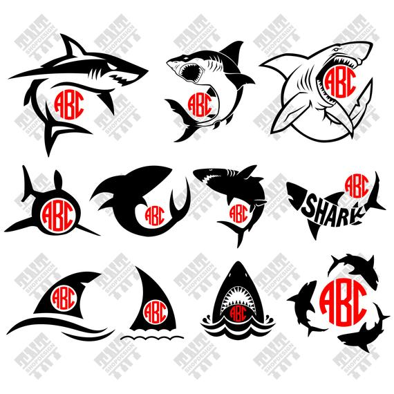 570x570 Shark Svg Shark Vector Shark Silhouette Shark Monogram Etsy