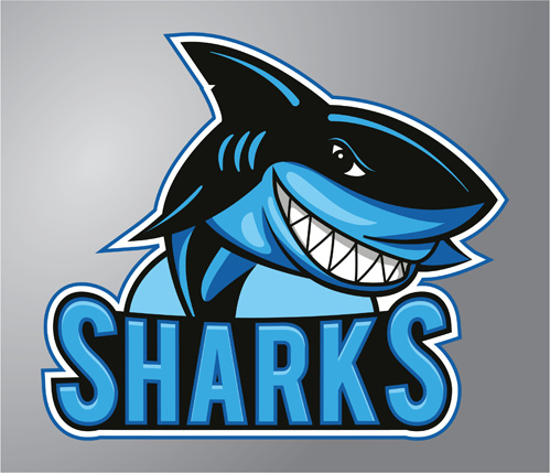 499x429 Group Of Funny Sharks Vector Art