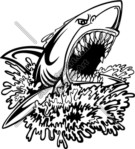 452x500 Shark Attacking Out Of Water Clipart And Vectorart Animals