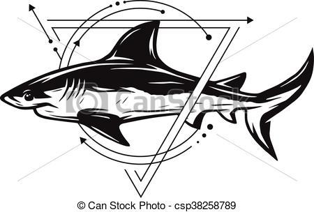 450x304 Shark On Background Of Geometric Elements. Shark Symbol On