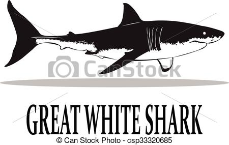 450x285 Sharks. The Great White Shark In Black And White.