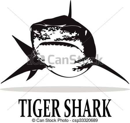 450x426 Sharks. The Tiger Shark In Black And White. Vector