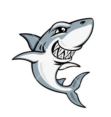 380x400 Cartoon Smiling Shark Vector Art