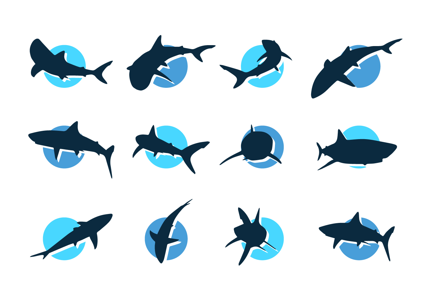 1400x980 Shark Vector Silhouettes Icons Free