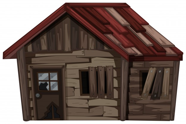 626x417 Wooden House With Very Bad Condition Vector Free Download