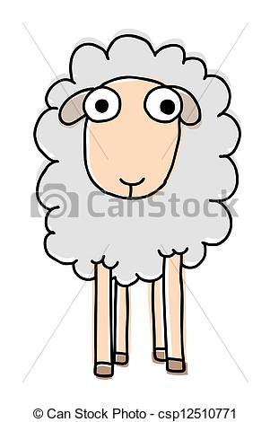 301x470 Funny Sheep, Cartoon Vector Illustration.