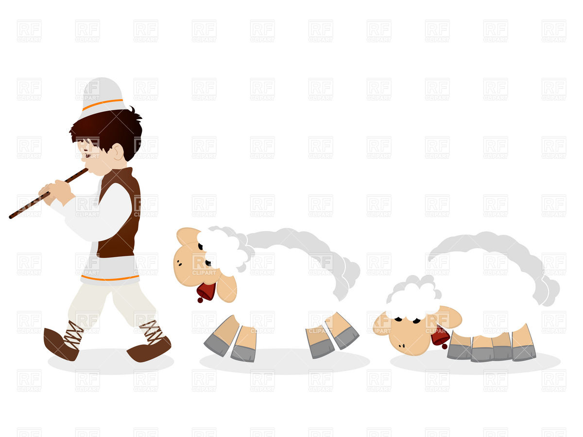 1200x900 Little Shepherd In Traditional Clothes Plying Flute And His Flock
