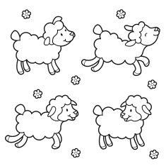 235x234 Sheep Coloring Set Vector Art Illustration Animals
