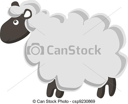 450x366 Cute Vector Sheep. Lovely Vector Lamb Isolated On White Background.