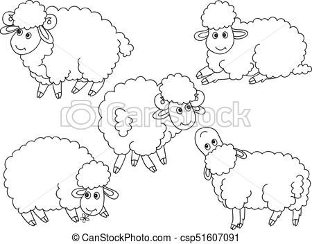 450x352 Vector Set Of Cute Cartoon Sheep. Vector Set Of Black And White