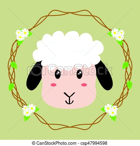 450x470 Cute Sheep Vector. Sheep Vector, With Floral Wreath Background.