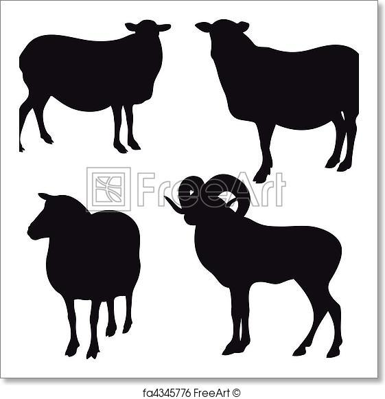 561x581 Free Art Print Of Sheep Vector. Collection Of Different Vector