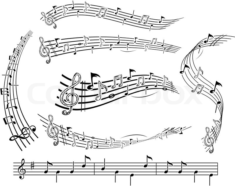 800x634 Music Notes On Music Sheet Stock Vector Colourbox