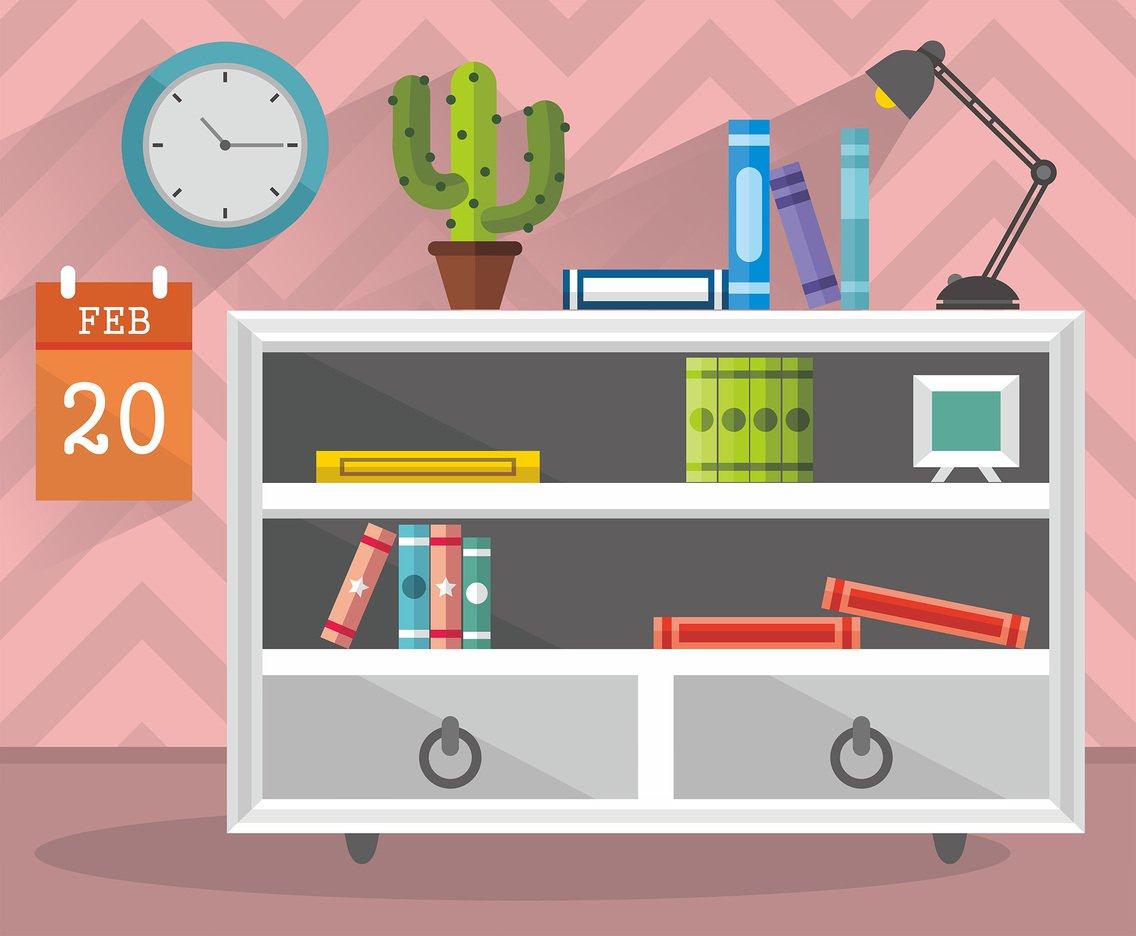 1136x936 Cute Room And Book Shelf Vector Design Vector Art Amp Graphics