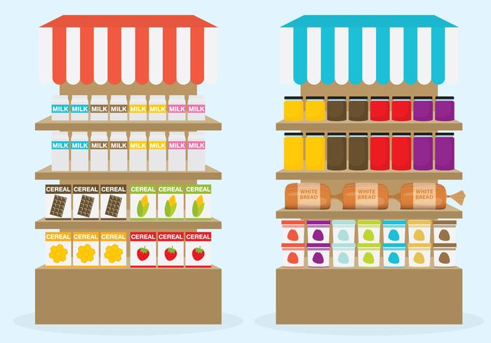 700x490 Supermarket Shelf Vectors