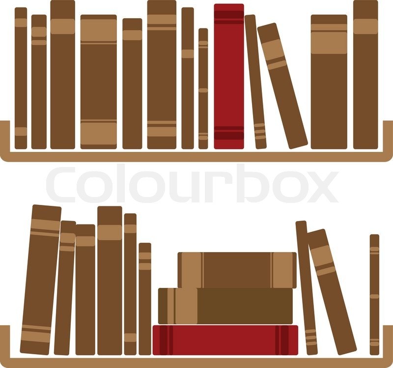 800x749 Vector Illustration Of Different Red Books On Shelf Stock Vector