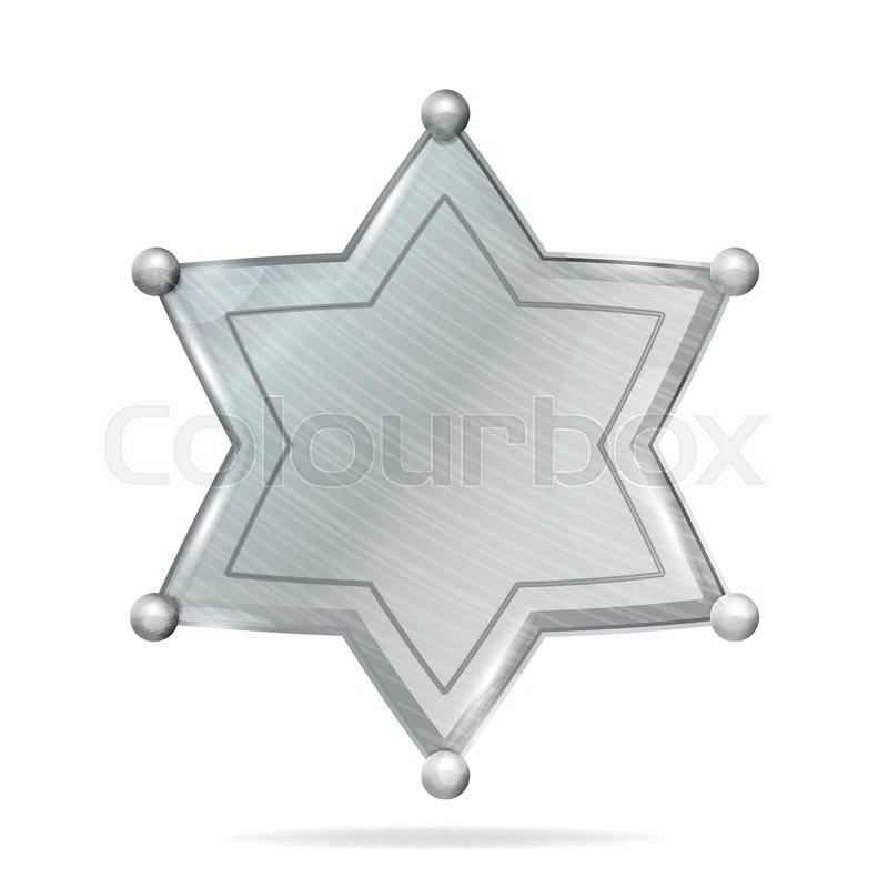 800x800 Sheriff Badge Star Vector. Realistic Blank Of Metal Sheriff Badge