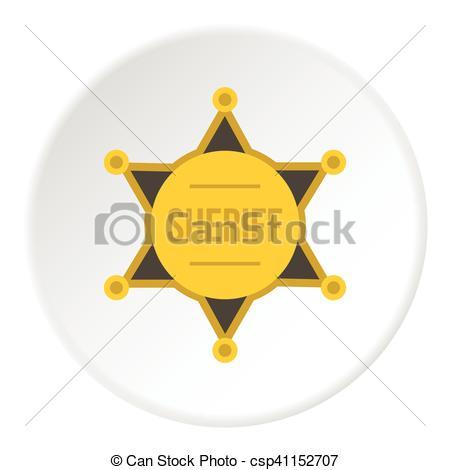 450x470 Sheriff Badge Icon, Flat Style. Sheriff Badge Icon. Flat... Vector