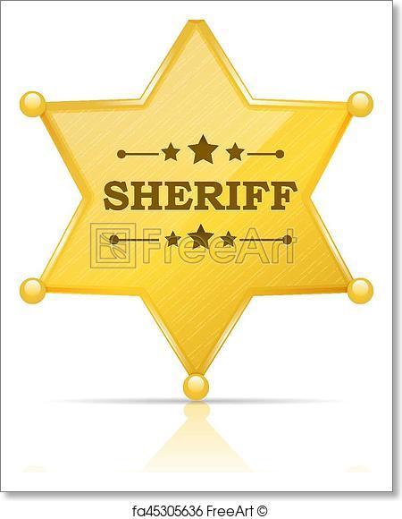450x580 Free Art Print Of Sheriff Badge. Golden Sheriff Star Badge Vector