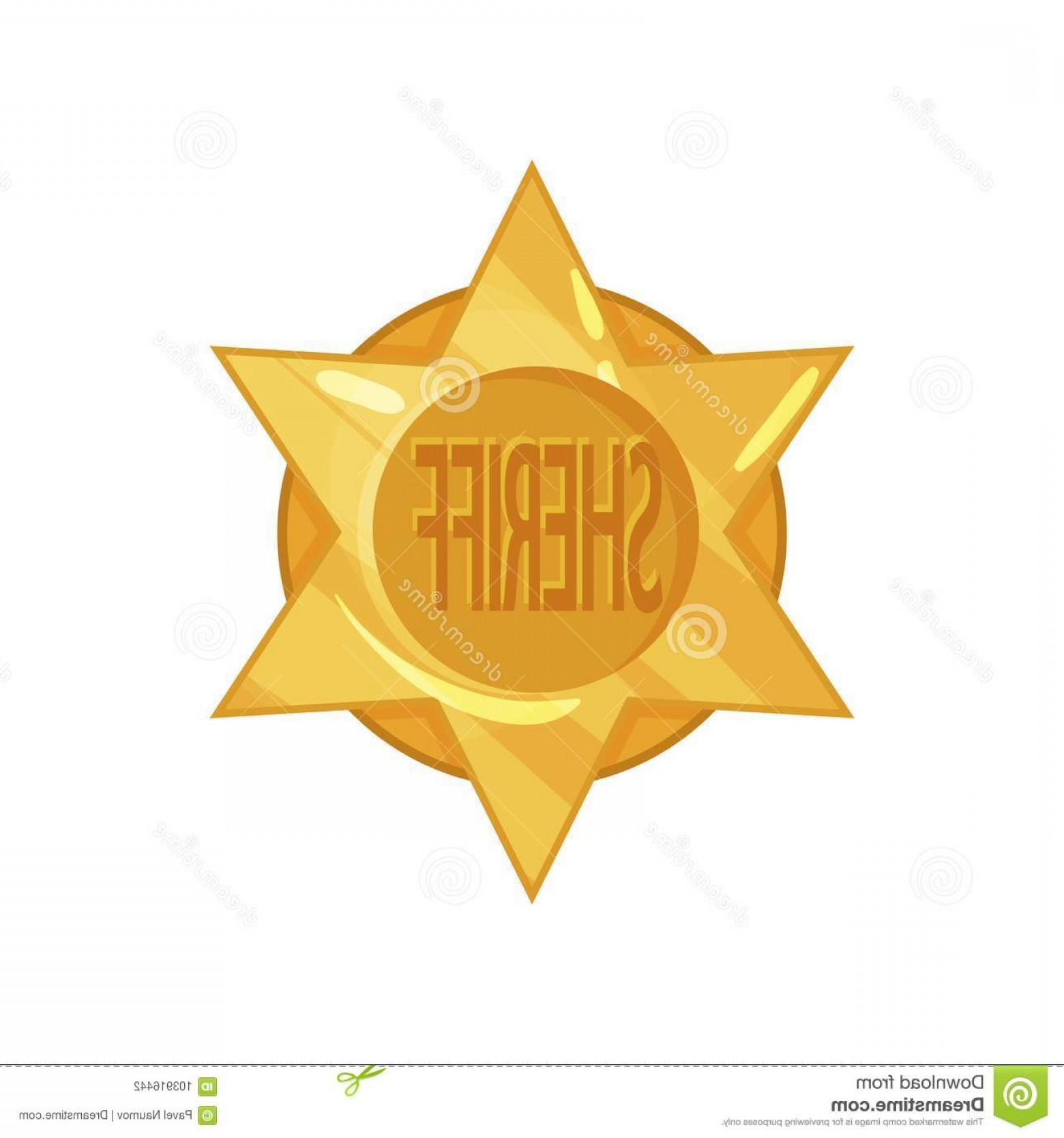 1560x1668 Old West Police Golden Circle Star Badge Cartoon Flat Style Vector
