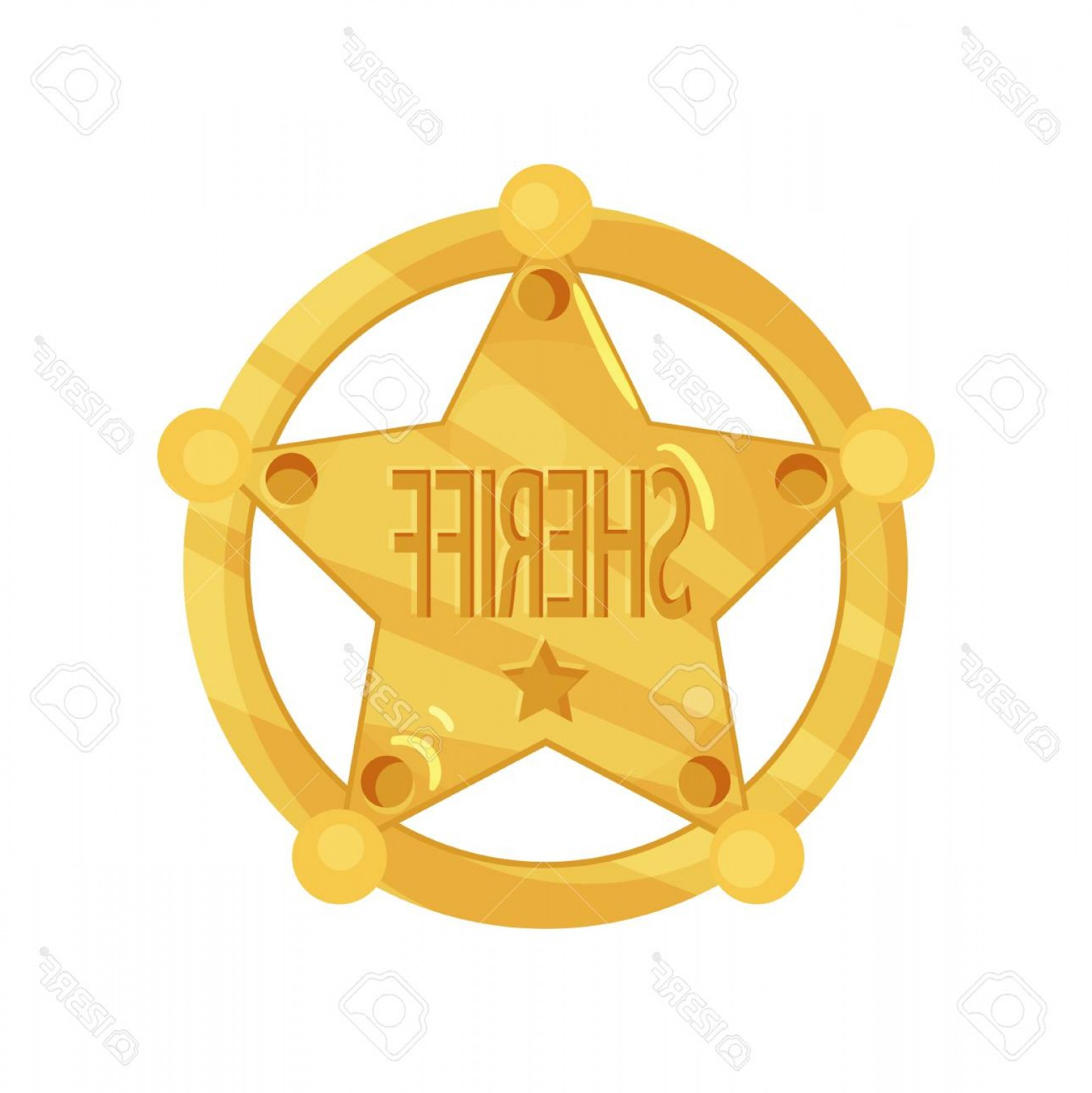 1558x1560 Photostock Vector Brass Five Pointed Sheriff Star Badge In Flat
